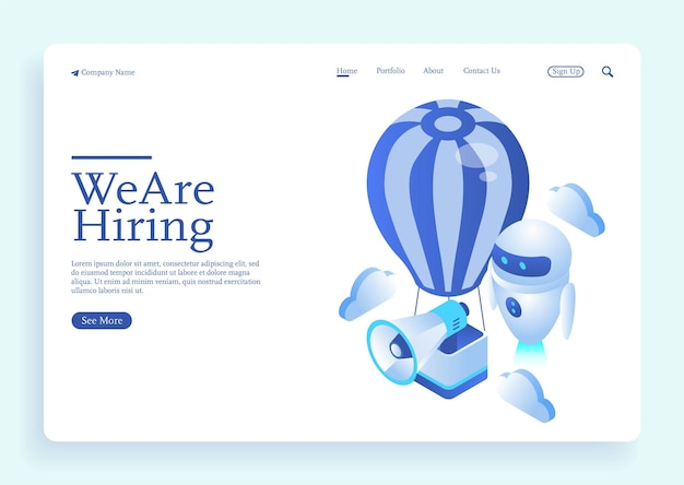 Ai robot with social presentation for employment and isometric for recruiting new candidates