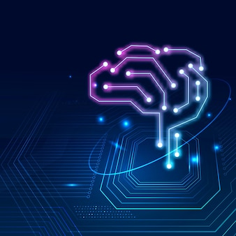 Ai technology brain background vector digital transformation concept