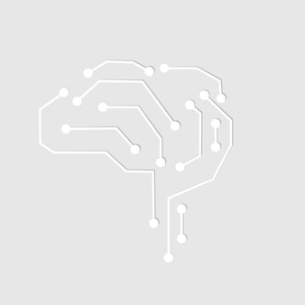Ai technology connection brain icon vector in white digital transformation concept