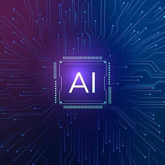 Ai technology microchip background vector digital transformation concept Free Vector