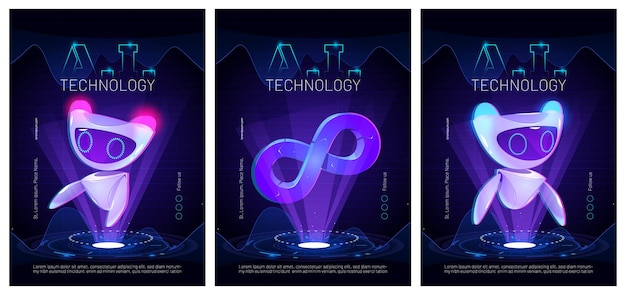 Ai technology posters with cute robot character artificial intelligence in science and business smart machine concept cartoon illustration with futuristic bot