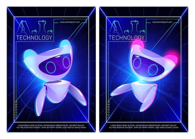 Ai technology posters with cute robot character artificial intelligence in science and business smart machine concept with futuristic bot
