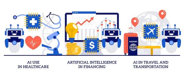 Использование ии в здравоохранении, искусственный интеллект в финансах, ии в путешествиях и концепция транспорта с крошечными людьми. роботизированные современные технологии, набор абстрактных векторных иллюстраций автоматизированного помощника.
