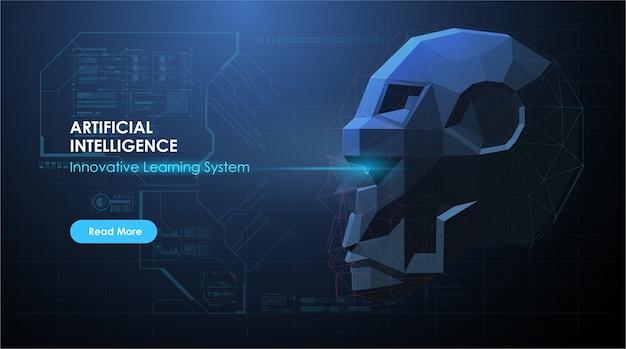 抽象的な未来的なスタイルのロボットの顔を持つai