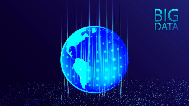 Визуализация больших данных. кибер-технологии ai футуристический фон.