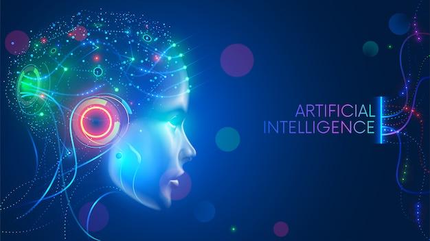 ニューラルネットワークを備えた人型頭部の人工知能は考えています。デジタルブレインを備えたai