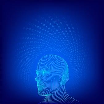 Ai。人工知能のコンセプト。抽象的なワイヤーフレームデジタル人間の顔。