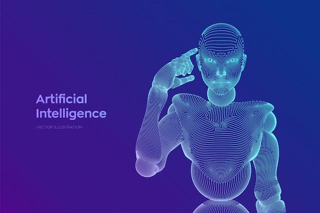 抽象的なワイヤフレームの女性サイボーグまたはロボットは、頭の近くで指を保持し、彼女の人工知能を使用して思考または計算します。 aiと機械学習テクノロジー。図。