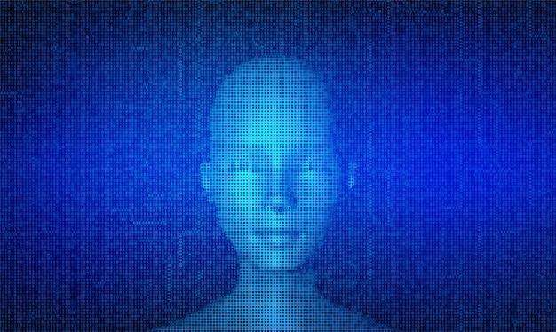 Ai。人工知能のコンセプト。ストリーミングマトリックスデジタルバイナリコードの背景で作られた抽象的なデジタル人間の顔。