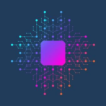Значок иллюстрации обломока - символ компьютерной микросхемы или элемент дизайна. компьютерный чип или микрочип-процессор для концепции искусственного интеллекта (ai).