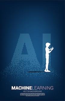 男と女のシルエットは、ピクセル変換からのai表現で携帯電話を使用します。機械学習と人工知能技術の概念