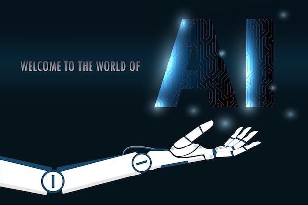 Искусственный интеллект робота, держащего схему ai.