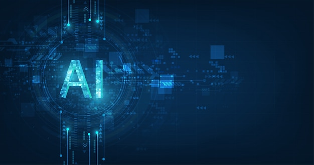 抽象的な未来的なデジタルと濃い青色の背景に技術。回路設計でのai(人工知能)の表現。