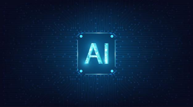 抽象的な未来的なデジタルと暗い青色の背景に技術。回路設計によるai(人工知能)表現。