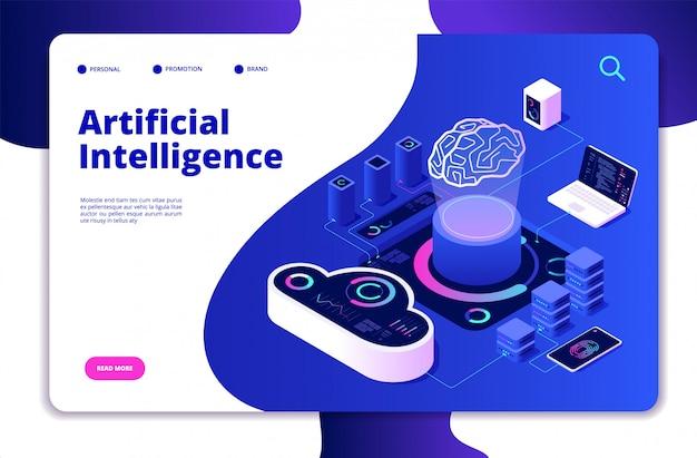 人工知能の着陸。 aiスマートデジタルブレーンネットワーキングニューラル学習インテリジェントソリューションイノベーションコンセプト