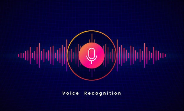音声認識aiパーソナルアシスタントモダンな技術視覚概念ベクトルイラストデザイン。デジタル音波オーディオスペクトルライン上のマイクボタンアイコン