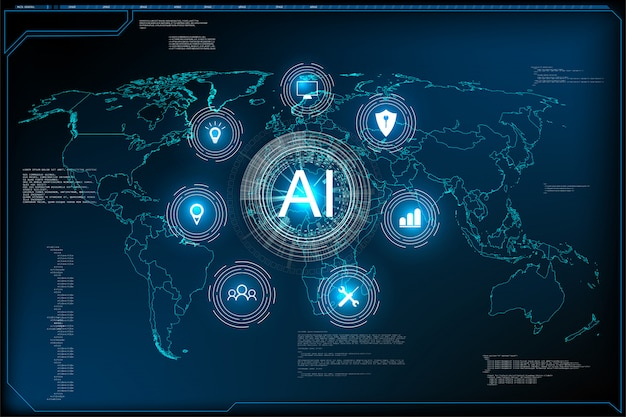 Aiマシンの深層学習技術のサイエンスフィクションのコンセプトのウェブサイトテンプレート。図人工知能のランディングページ。
