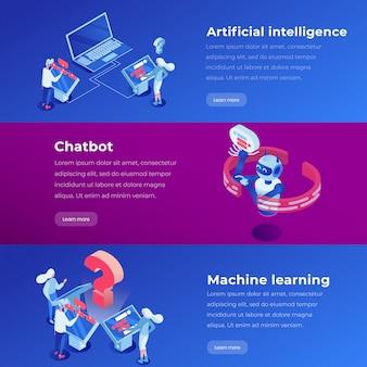 機械学習、ソフトウェアアプリケーション、aiウェブサイトステップベクトルレイアウト。