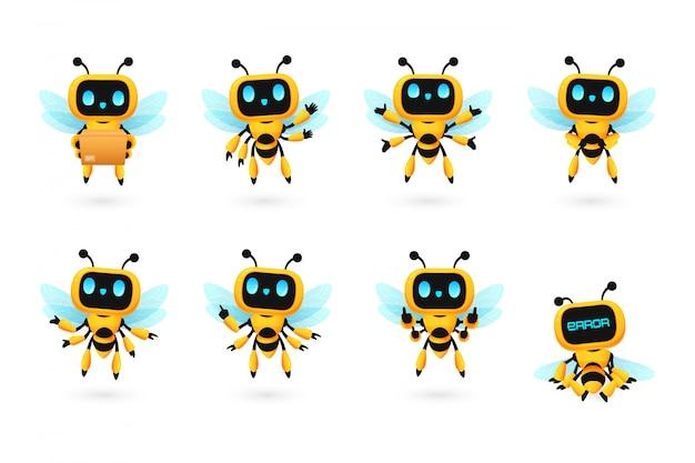 かわいいミツバチロボットaiキャラクターの多くのポーズ