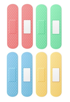 Медицинский патч aid band plaster strip set color. векторная иллюстрация