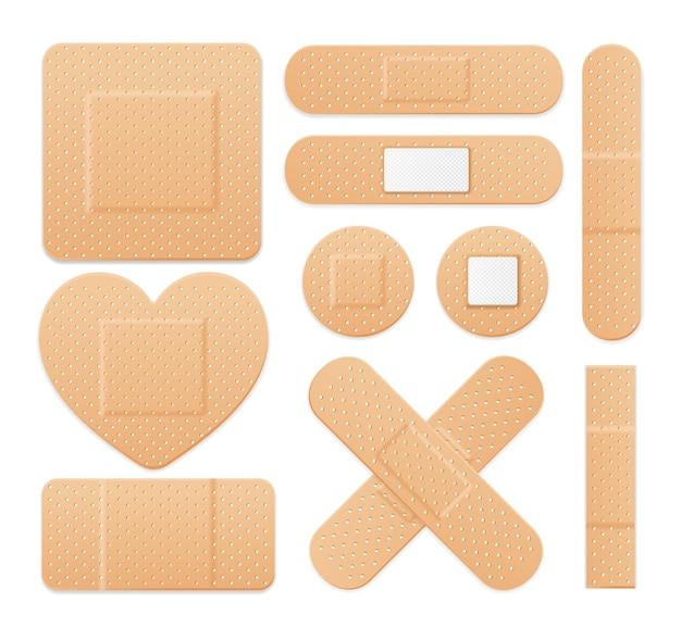 Набор медицинских пластырей aid band plaster strip. различные виды. векторная иллюстрация