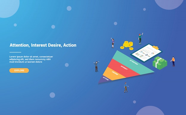 Aida acronym of attention interest desire action business word for website template or landing homepage