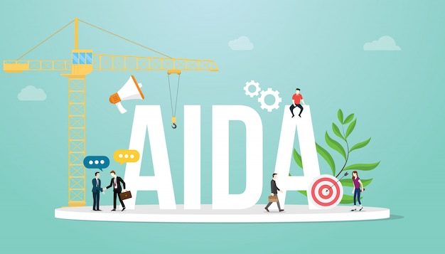 Aida attention interest desire action sales funnel marketing business concept with team people