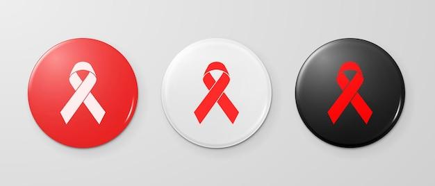 Красная лента осведомленности спида на наборе значка булавки значка кнопки круга. концепция всемирного дня борьбы со спидом. макрофотография шаблона дизайна, изолированные на белом фоне. eps10 векторные иллюстрации.