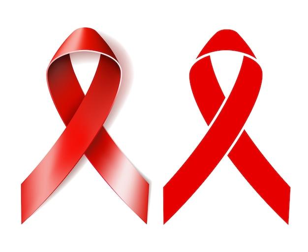 Лента осведомленности о спиде. реалистичная красная лента и красная лента силуэт, изолированные на белом фоне.