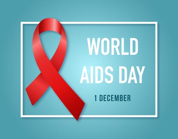 Aids awareness symbol red ribbon.
