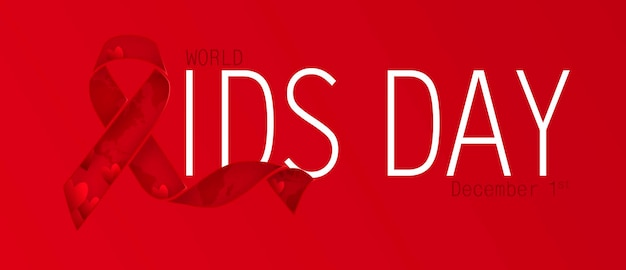 Осведомленность о спиде. концепция всемирного дня борьбы со спидом. красная лента. векторная иллюстрация eps10