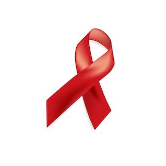 エイズ意識。世界エイズデーのコンセプト。赤いリボン。