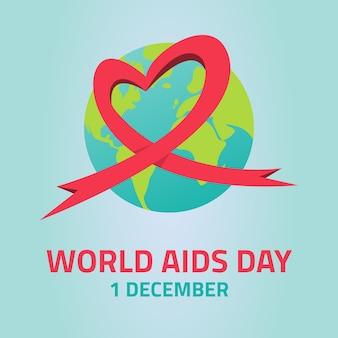 エイズ意識。世界エイズデーのコンセプト。ベクトルイラスト