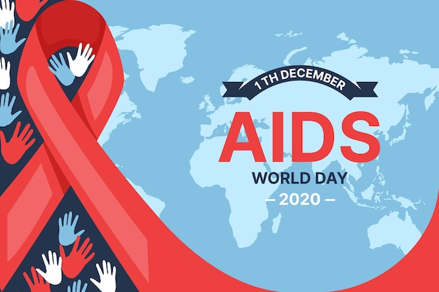 Aids day event ribbon on world map