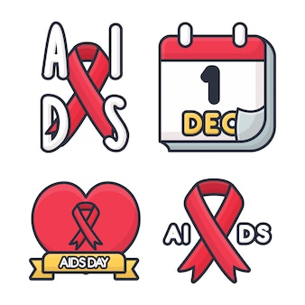 Aids day greeting patch collection