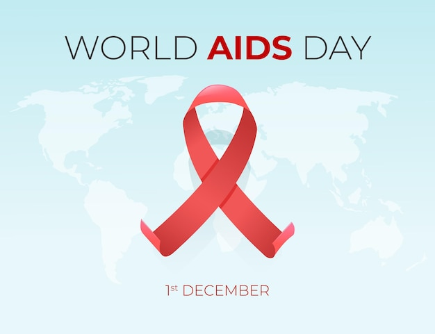 Aids day red ribbon on world map
