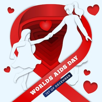 Aids day representation with two women holding hands in paper style