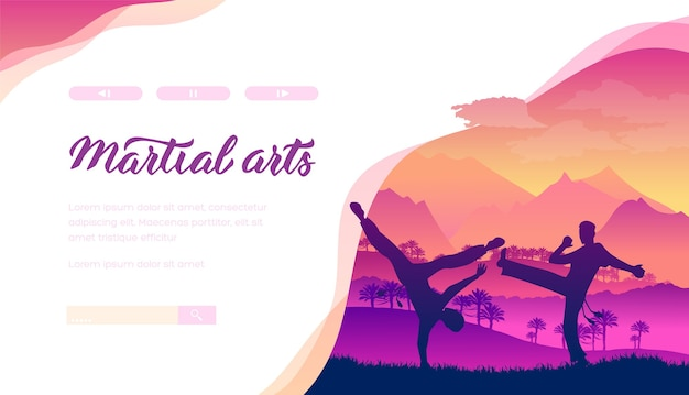 Aikido, judo web banner layout design