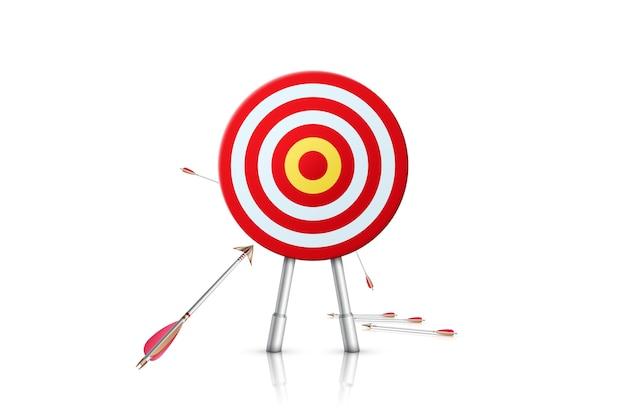 Цель и стрелы, изолированные на белом фоне