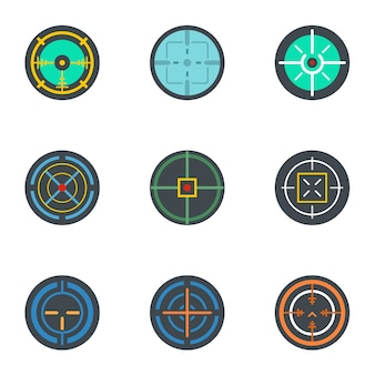 Aim icon set. flat set of 9 aim icons