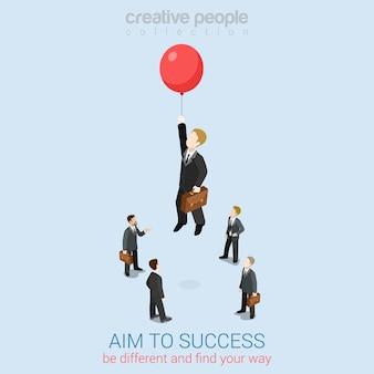 성공을 목표로 플랫 3d 웹