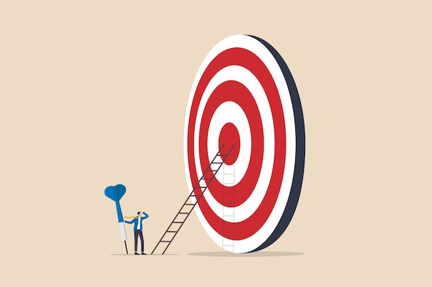 Aiming for high target mission, plan and strategy to achieve goal, business opportunity or career success journey concept, contemplate businessman hold big dart about to climb up ladder to bullseye.