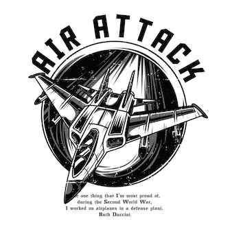 Air attack black and white