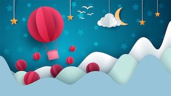 Air balloon cartoon paper landscape.