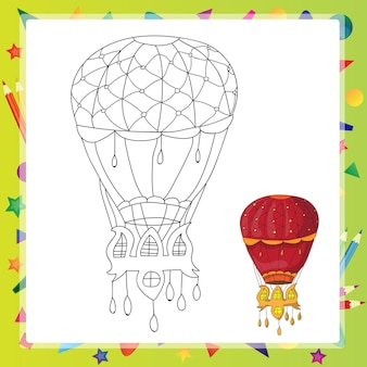 Air balloon - coloring book page - cartoon vector illustration