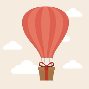 Air balloon delivery concept gift box cargo