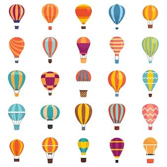 気球アイコンを設定します。白い背景で隔離の気球ベクトルアイコンのフラットセット