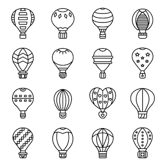 Air balloon icons set, outline style