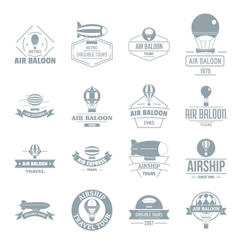 Air balloon icons set