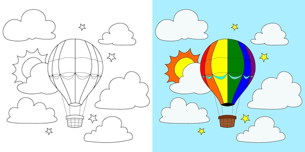 Вектор воздушный шар, солнце, облако, звезда, книжка-раскраска или страница, векторные иллюстрации